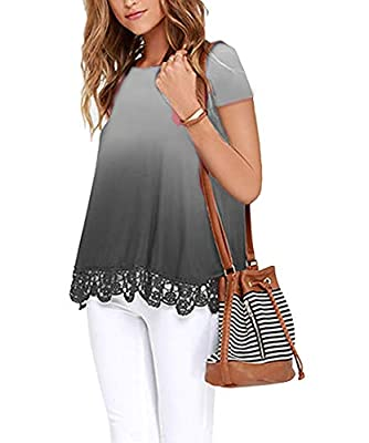 UUANG Women's O-Neck A-Line Lace Trim Casual Short Sleeve Tunic Blouse Tops