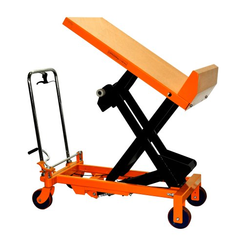 Bolton Tools New Hydraulic Foot Operated Scissor Lift and Tilt Table Cart Hand Truck - 1100 LB of Capacity - 51.2
