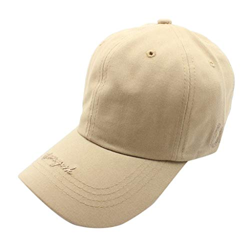 PASHY Creative Unisex Sun Hats Womens Mans Embroidered Cotton Baseball Caps Sport Sun Visor Beige