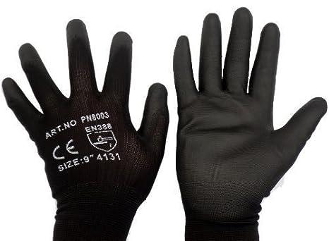 PWS - Guantes de nylon cubiertos de poliuretano para trabajar, talla L, 50 pares, color negro: Amazon.es: Bricolaje y herramientas