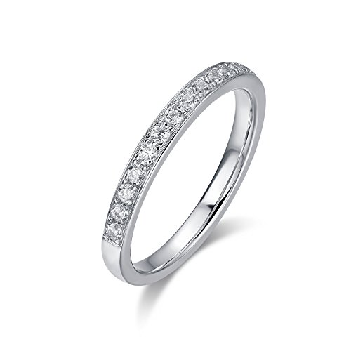 Rhodium Plated Sterling Silver Band (2.0mm Rhodium Plated Sterling Silver Micropave Cubic Zirconia CZ Half Eternity Wedding Ring (9))