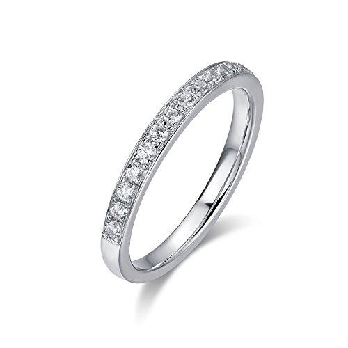 2.0mm Rhodium Plated Sterling Silver Micropave Cubic Zirconia CZ Half Eternity Wedding Ring (7) (Cut Half Eternity Ring)