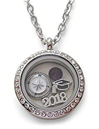 2018 Graduate Gift Locket Necklace with Birthstone - Good Luck on the Path Ahead of You