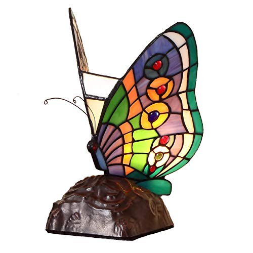 Bieye L10652 10 inches Butterfly Tiffany Style Stained Glass Accent Table Lamp, Night -