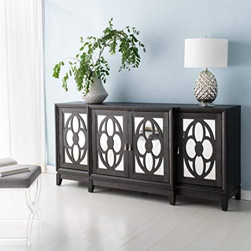 Safavieh Couture Madeleine Black Mirrored 3-shelf Storage Buffet Sideboard