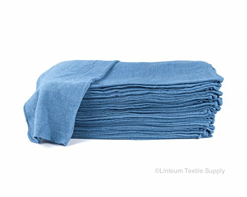 Linteum Textile (100-Pack, 14x14 in, Blue) AUTO SHOP TOWEL, 100% Cotton Commercial Grade Rags, Ideal for Auto-Mechanic Cleaning & -