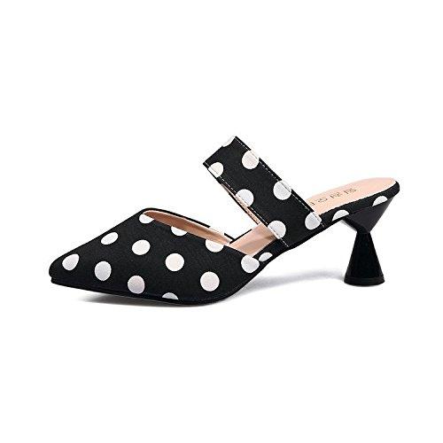 Scarpe donna pantofole estate six di pantofole Baotou Semi Thirty ribaltato lazy metà wHz8q6O