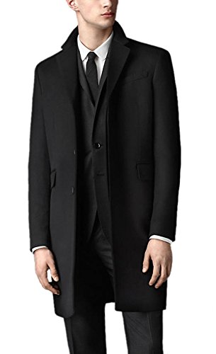 Oncefirst Men's Trench Coat Winter Long Jacket Single Bre...
