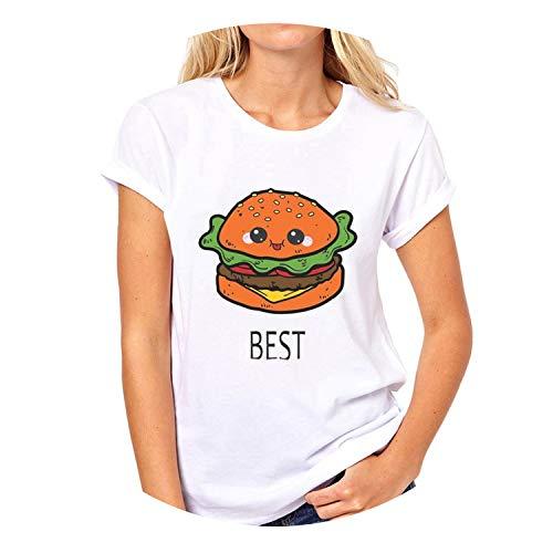 Best Friends Forever T-Shirt Women BFF Hamburger Chips Juice Print Oversized Harajuku Funny,X4224,S
