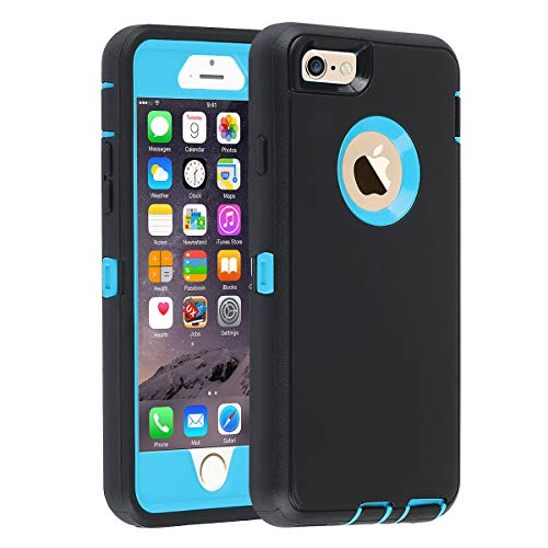 Case Cover Protector Blue (Case for iPhone 6/6s,[Heavy Duty] Armor 3 in 1 Built-in Screen Protector Rugged Cover Dust-Proof Shockproof Drop-Proof Scratch-Resistant Tough Shell Case for Apple iPhone 6/6s 4.7 inch,Black/Blue)