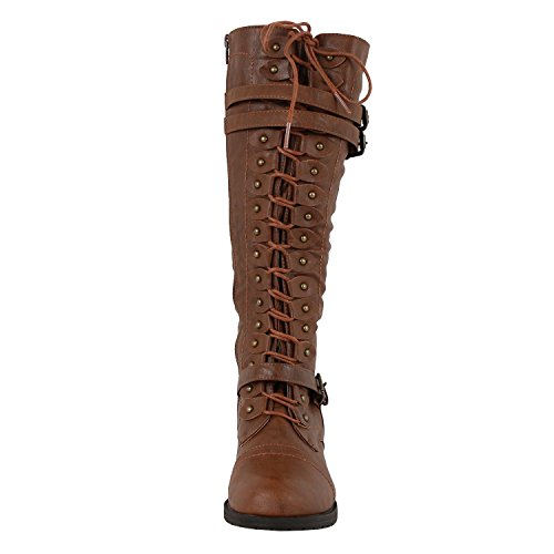 Wild Diva Timberly-65 Women's Fashion Lace Up Buckle Knee High Combat Boots (9 B(M) US, Cognac) - stylishcombatboots.com