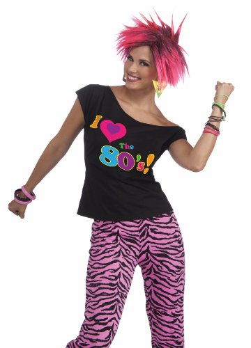 80 Themed Halloween Costume Ideas (Forum Novelties Women's 80's Remix Costume Shirt, Multi Colored, Small/Medium)