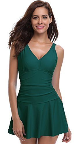 SHEKINI Women's One Piece Skirt Swimsuit Ruched Retro Swimdress Bathing Suit (Small/(US 4-6), Deep (Green Womens Skirt Suit)