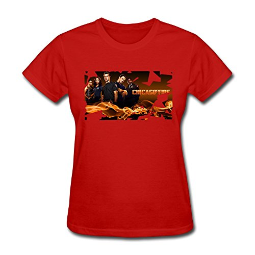 Women's Funny Tees - Chicago Fire Poster Red Size S