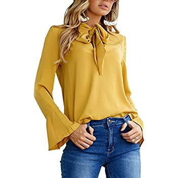 427d01a1 Angashion Women's V Neck Long Sleeve Bow Tie Flare Sleeve Blouse Solid Shirt  Tops