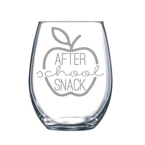 After School Snack Funny Gift Laser Etched Wine Glass Cursive - 17 oz