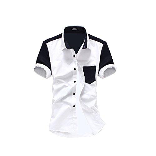 Vshop-2000 Men's Point Collar Short Sleeve Button Front Patchwork Top