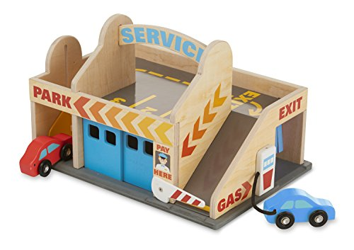 Melissa & Doug Service Station Parking Garage With 2 Wooden Cars and Drive-Thru Car Wash (Melissa And Doug Car Carrier)