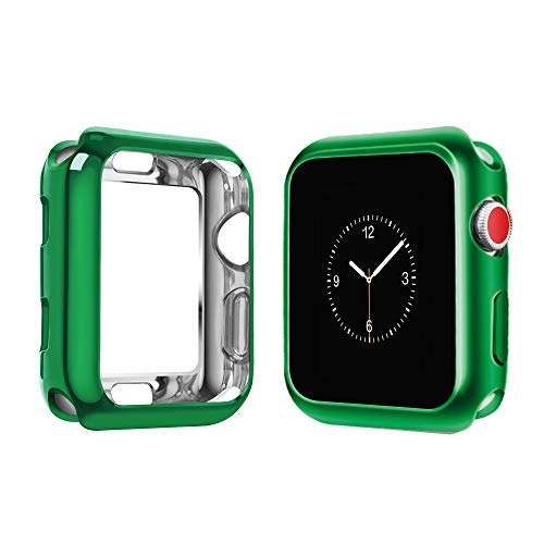 top4cus Scratch-Resistant Soft Flexible TPU Lightweight Protective Protector Bumper Compatible Apple Watch Case 42mm iwatch Series 4 Series 3 Series 2 Series 1 - Green, 42mm