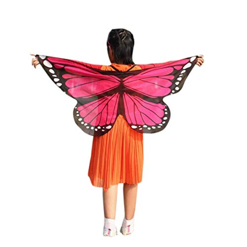 iDWZA Child Kid Boys Girls Bohemian Butterfly Print Shawl Wrap Costume Accessory(11848cm,Hot Pink-2)