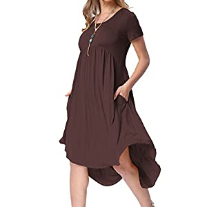 levaca Women's Scoop Neck Pockets High Low Pleated Loose Swing Casual Midi Dress