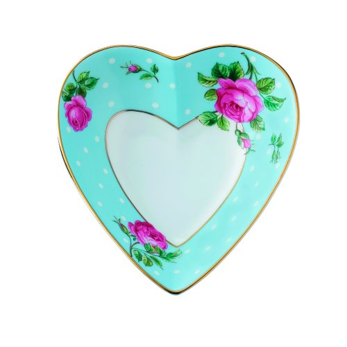 Royal Albert Heart Tray, Polka Blue
