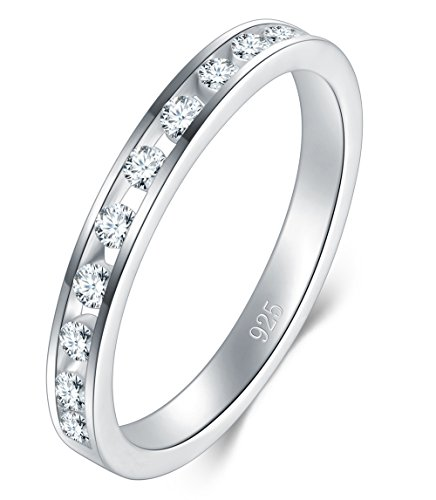 BORUO 925 Sterling Silver Ring, Cubic Zirconia CZ Wedding Band Stackable Ring 2mm Size 9 ()