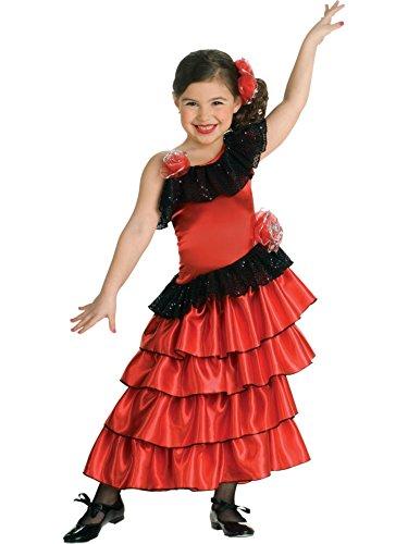 Child's Red and Black Spanish Princess Costume, Medium - Metallic Lace Ruffle Top