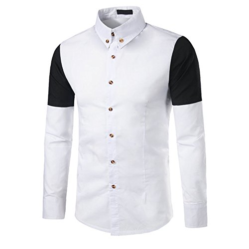 Da Sottili Di Del Camicie Misura Da down Colletto Rappezzatura Bianco Manica C2s Uomo Sera Lunga Button xUq7pP