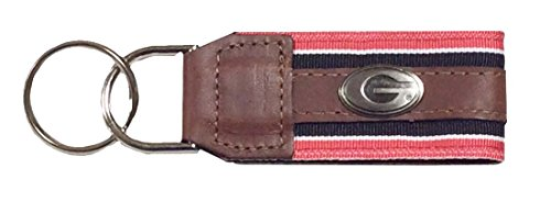 NCAA UGA Georgia Bulldogs Striped Ribbon Leather Concho Key Chain (Concho Ribbon)