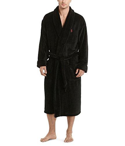 Polo Ralph Lauren Microfiber Robe One Size (Polo Black/Avenue - Ralph Polo Red Black Logo Lauren