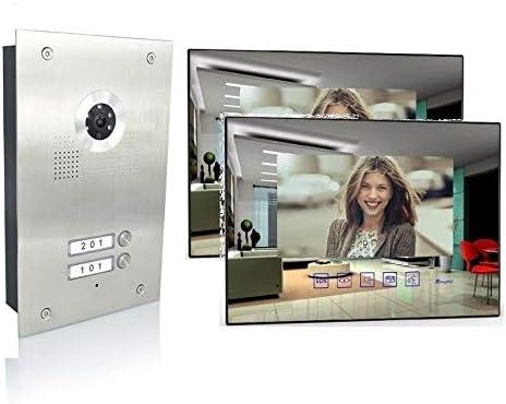 3x7 Monitor Spiegel 3 Familienhaus Video T/ürsprechanlage 7 Monitor Edelstahl Aufputz Farbe