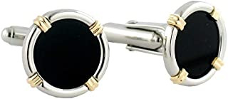 product image for David Donahue Mens Sterling Silver 14KT Gold Onyx Cuff Links