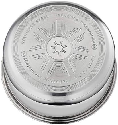 VIVALP L9434S14 Set de 3 casseroles Inox + 1 poignée amovible, Tous feux dont induction