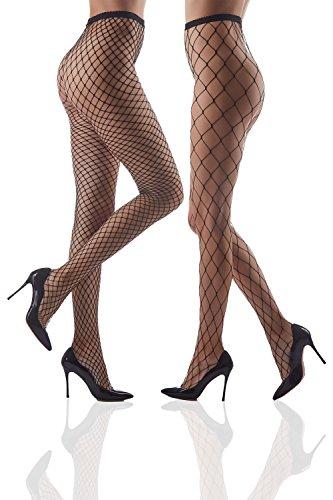 Set of Two Fishnet Tights High Waist Fishnets Sheer Seamless Soft Net Pantyhose (Black, Medium plus, Large (Cabaret Net)