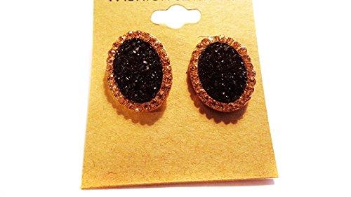 Black Crystal Earrings Encrusted Crystal Earrings 1 Inch Oval Earrings