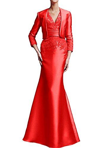 Abendkleid bodenlang mit Damen Ivydressing V Applikation Promkleid Satin Rot 2017 aermellos Neck Etui Brautmutterkleid Neu Bolero wqIvOWrvp