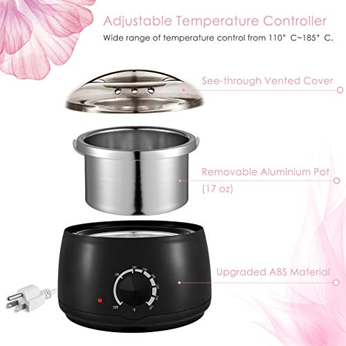 FitMaker Wax Warmer Hair Removal Kit, Professional Wax Heater Pot Self-Waxing Spa 4 Flavors Hard Wax Beans + 20 Wax Applicator Sticks Upgraded Temperature Setting Electric Wax Heater Home Waxing by FitMaker (Image #5)