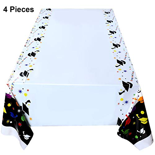 Yaomiao 4 Pieces Classic Graduation Tablecover Plastic Graduation Table Cover with Graduation Hat Pattern for Graduation Party Banquet Decoration, 42.5 x 71 Inches