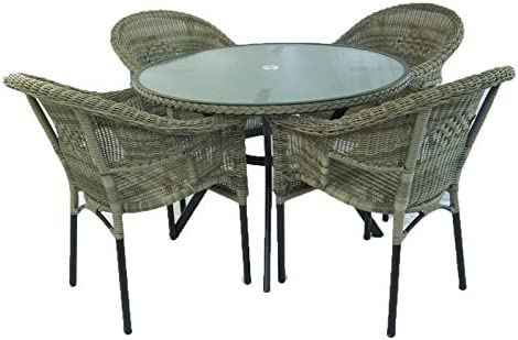 Conjunto para jardín, Mesa Redonda de 105 cm y 4 sillones ...