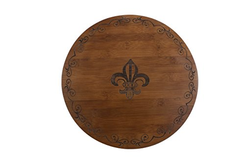 Thirstystone Bamboo Lazy Susan Cheese Board, Fleur De Lis, Brown ()