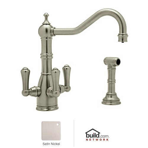 (Rohl U.KIT1575LS-STN-2 Perrin and Rowe Filtering Triple Handle Kitchen Faucet, Satin Nickel )