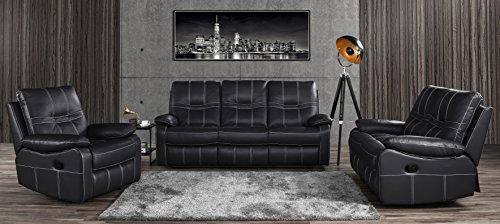 Leather Sofa Set 3 Pieces, Reclining Living Room Couch Set of 3 (Black)