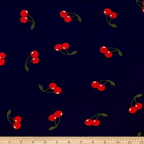 Fabric Merchants Double Brushed Poly Jersey Knit Cherries Fabric, Navy/Red, Fabric By The Yard