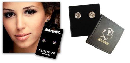Studex sensibles petites boucles d'oreilles clous en acier inoxydable 4,5mm Jet cristal noir Fireball