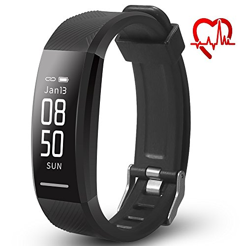 LQM Fitness Tracker, Activity Tracker with Heart Rate Monitor Watch, IP67 Waterproof Smart Wristband with Calorie Counter, Pedometer Watch for Kids Women and Men, Android & iOS (Black) -