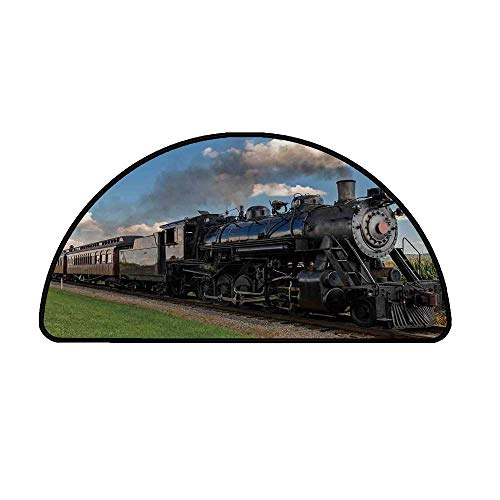 Steam Engine Comfortable Semicircle Mat,Vintage Locomotive in Countryside Scenery Green Grass Puff Train Picture for Living Room,15.7