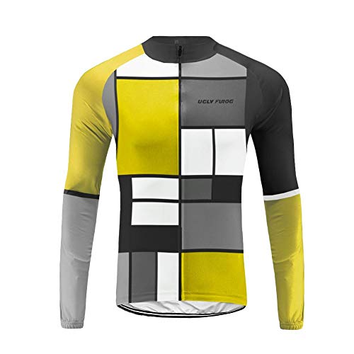 Uglyfrog Mens Thermodream Cycling Jersey Celebrity Plaid Painting Design Full Sleeve Thermal Roubaix Cycling Jacket Bicycle Equipment ()