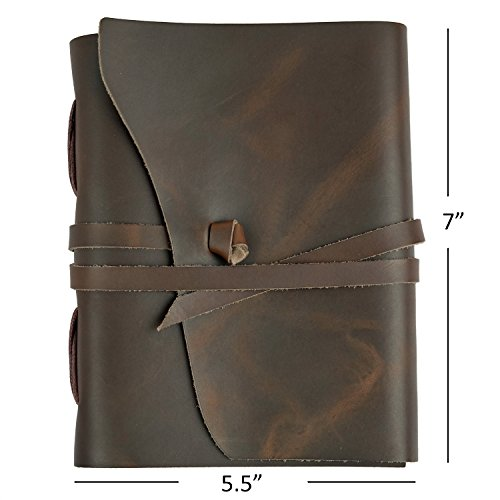RICCO BELLO Artista Genuine Leather Journal – Handmade Bound Blank Notebook, 280 Pages – 5.5 x 7 Inches for Writers, Artists, Diary, Travel (Regular, …