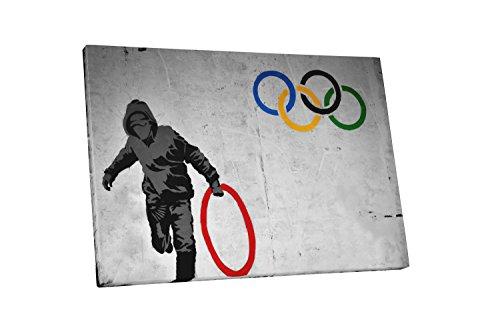 (Pingo World 0622Q9PJKDM Olympic Rings Gallery Wrapped Canvas Print 45 X 30. Bonus Free Banksy Wall Decal, 45